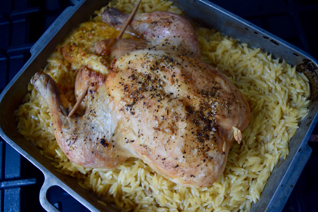Roast Chicken with Orzo from Lucy Loves Food Blog
