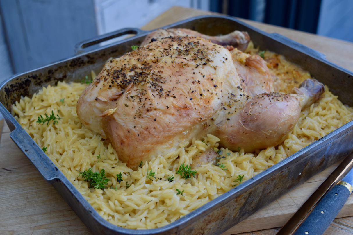 Roast Chicken with Orzo recipe from Lucy Loves Food Blog