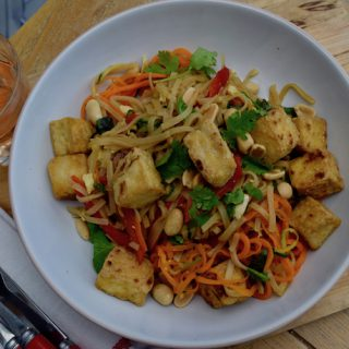 Crispy Tofu with Rainbow Pad Thai recipe from Lucy Loves Food Blog