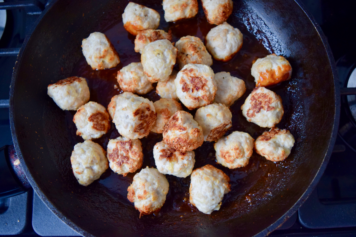 Sriracha Honey Meatballs recipe from Lucy Loves Food Blog