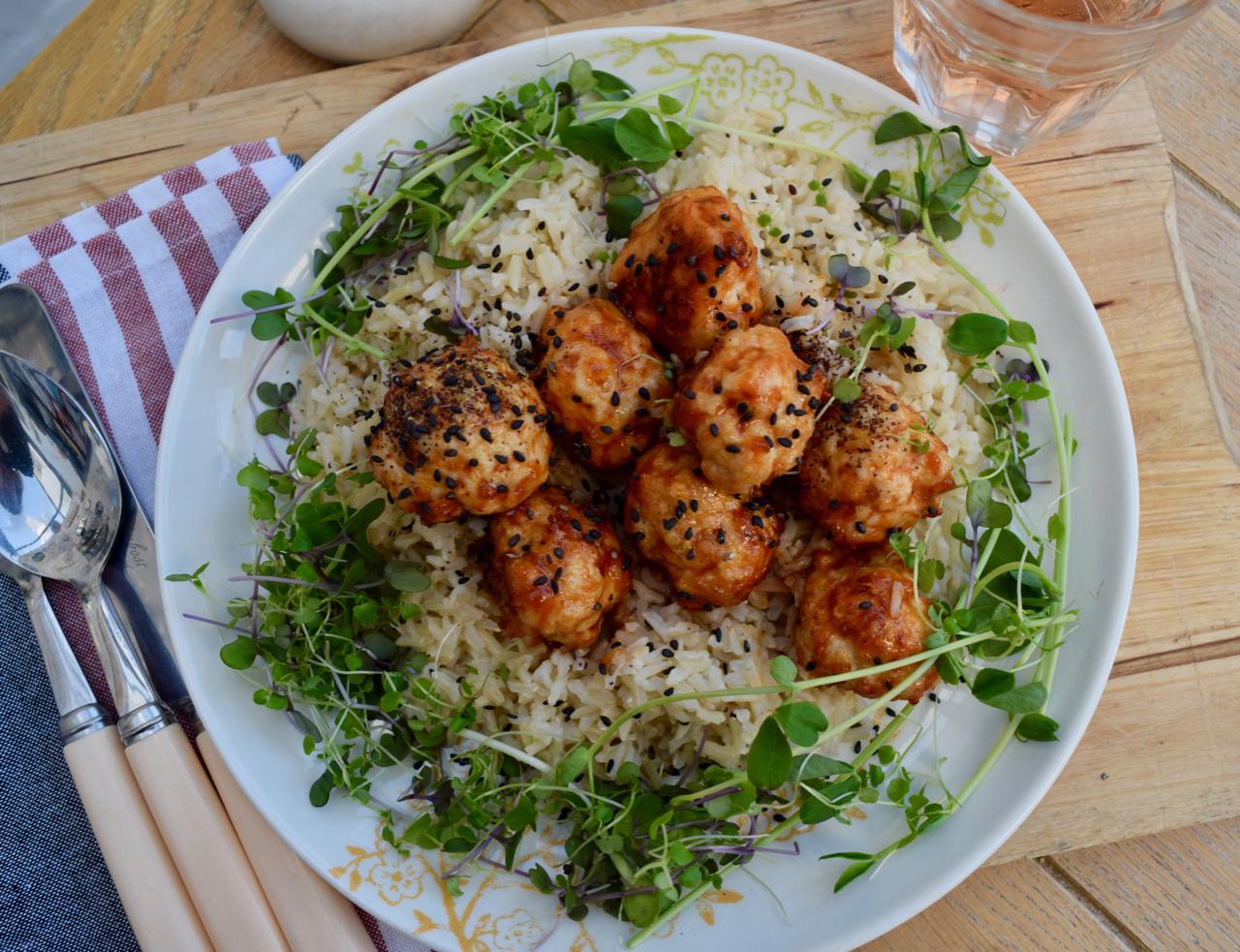 Sriracha Honey Meatballs recipe from Lucy Loves