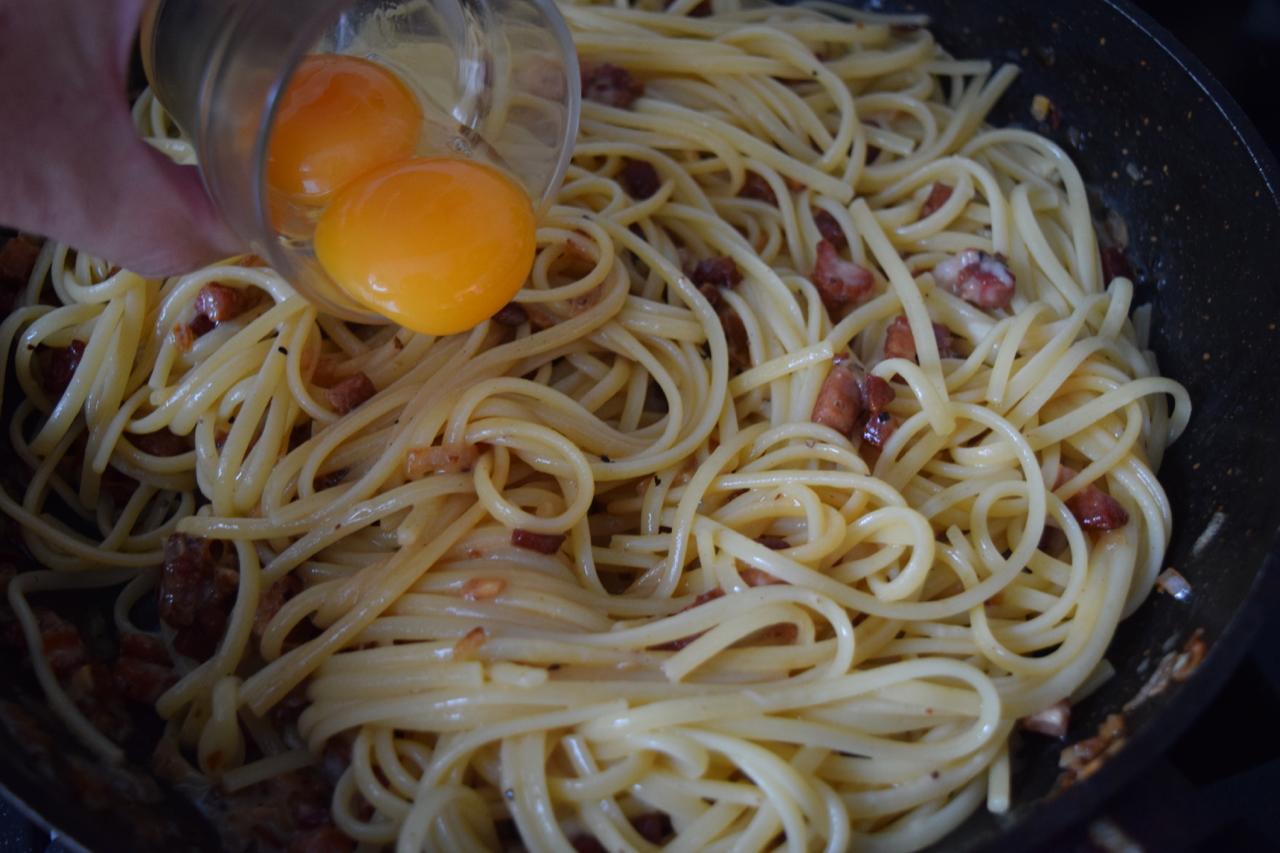 Lemony Spaghetti Carbonara recipe from Lucy Loves Food Blog