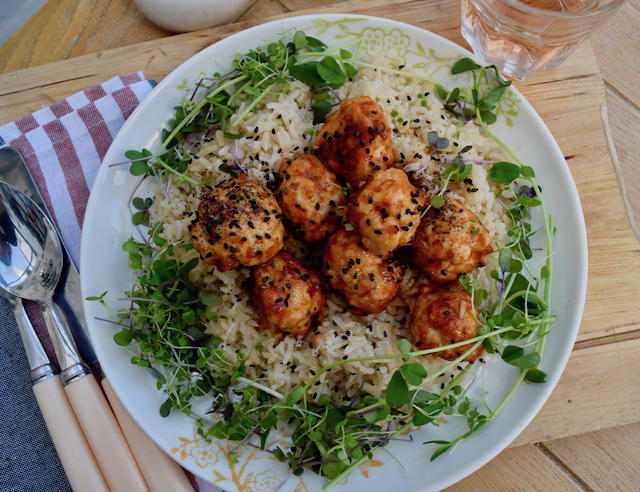 Sriracha Honey Meatballs recipe from Lucy Loves
