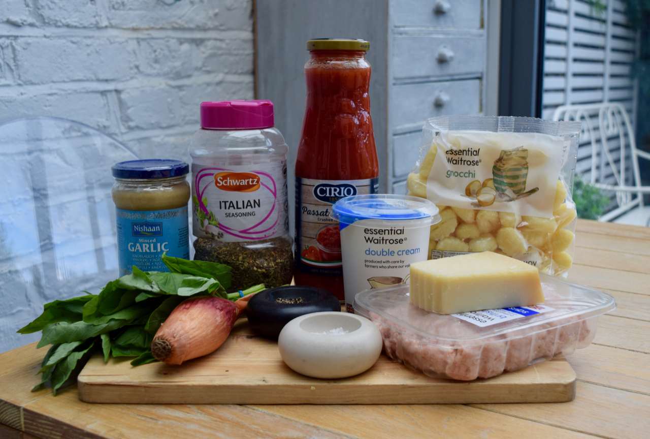 One Pot Creamy Sausage Gnocchi recipe from Lucy Loves Food Blog