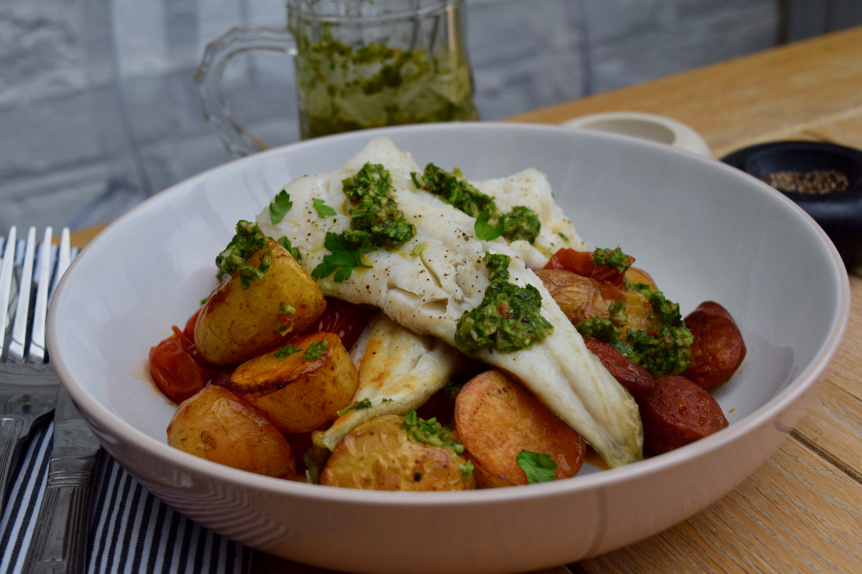 Cod with Chorizo and Chimichurri recipe from Lucy Loves Food Blog