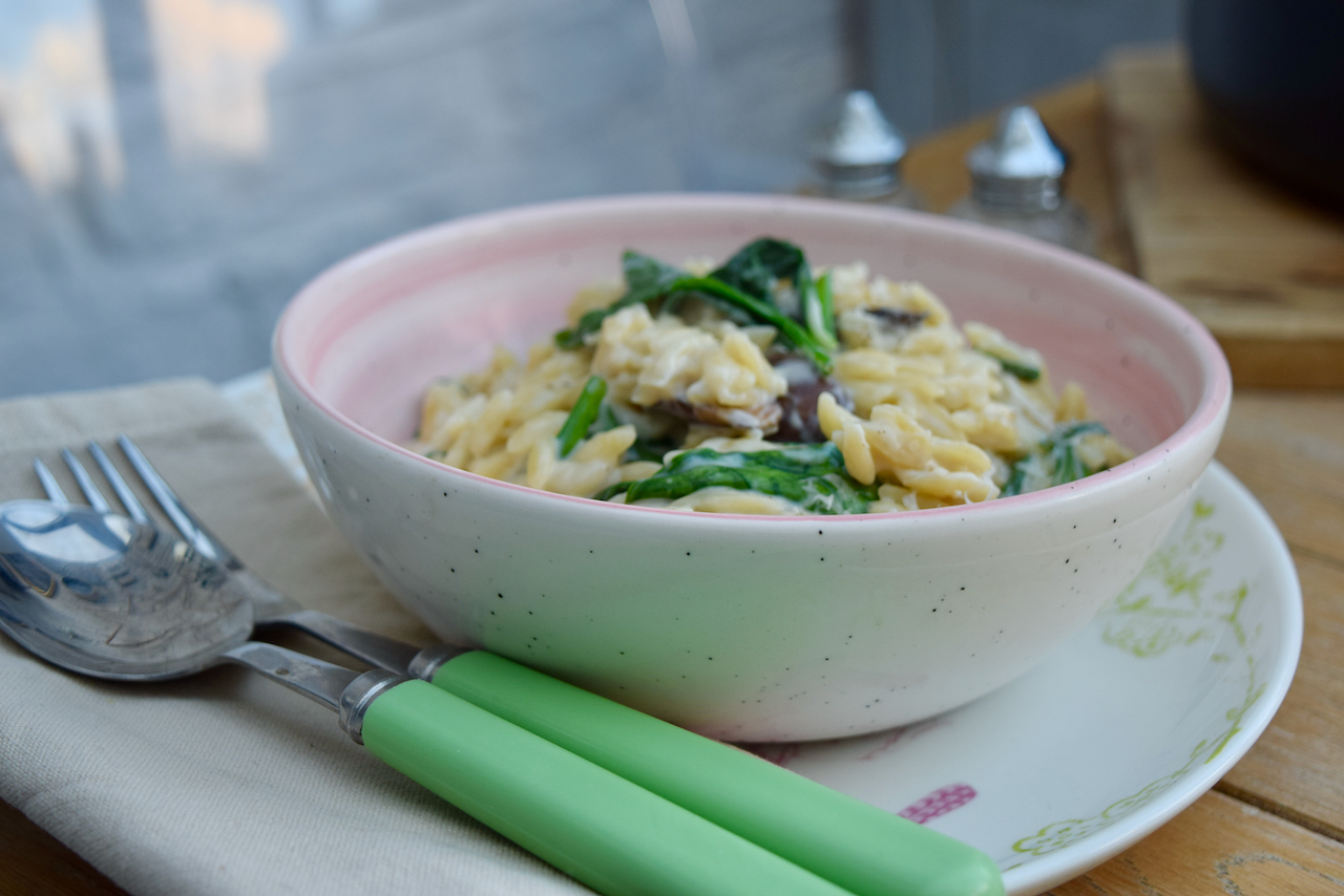 One Pot Mushroom and Spinach Orzo recipe from Lucy Loves Food Blog