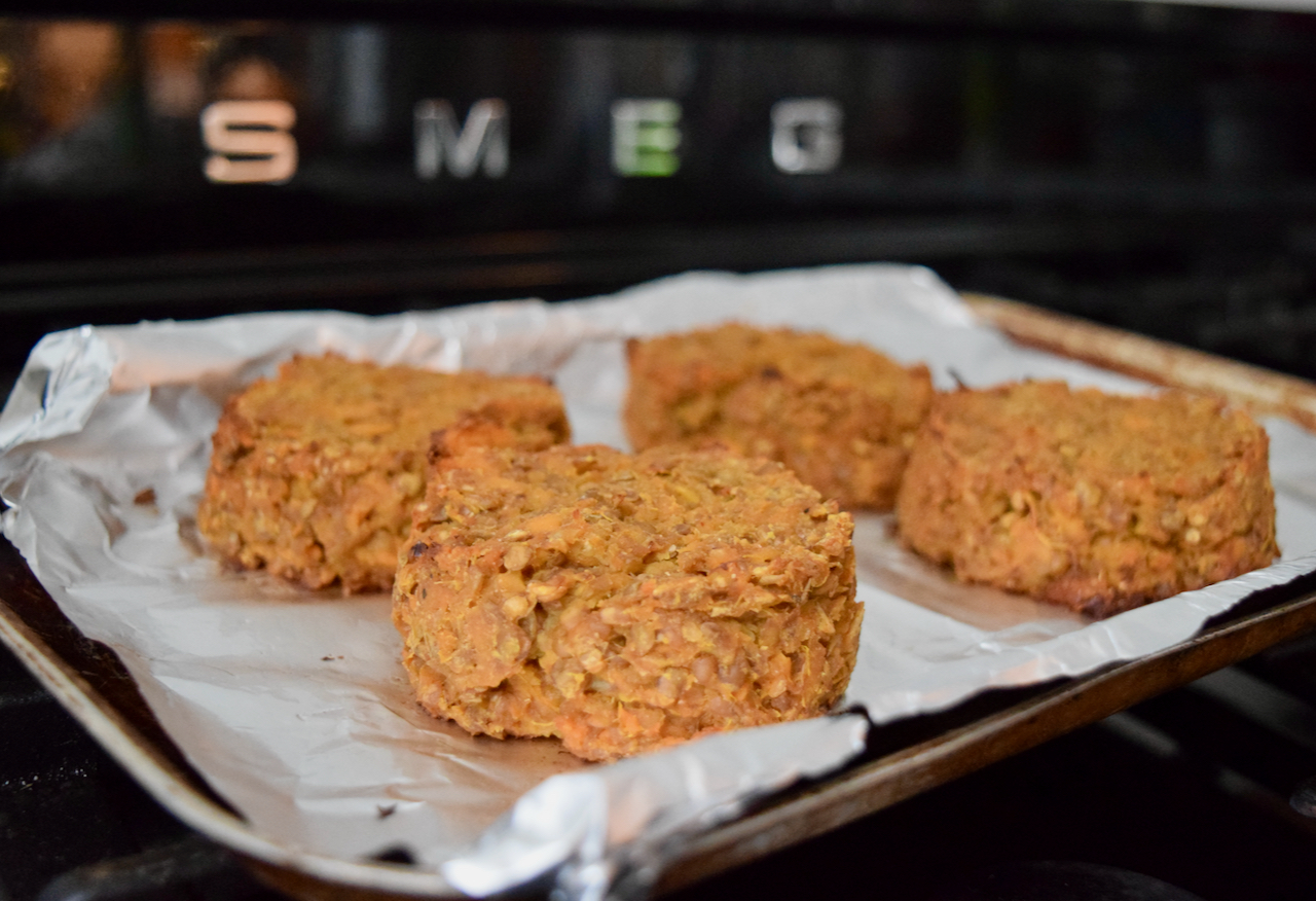 Lucy Loves Lentil and Sweet Potato Burgers recipe from Lucy Loves