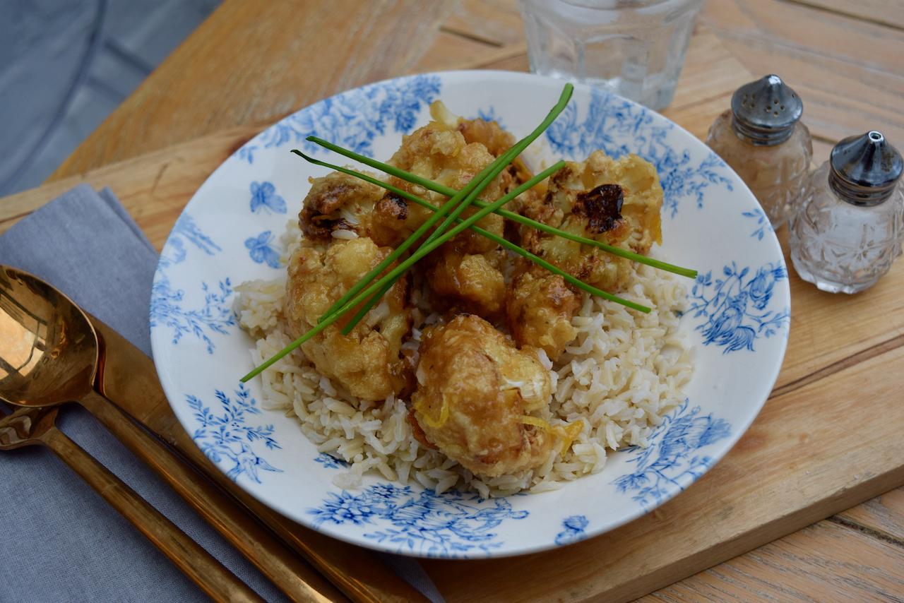 Crispy Cauliflower with Lemon Sauce recipe from Lucy Loves Food Blog