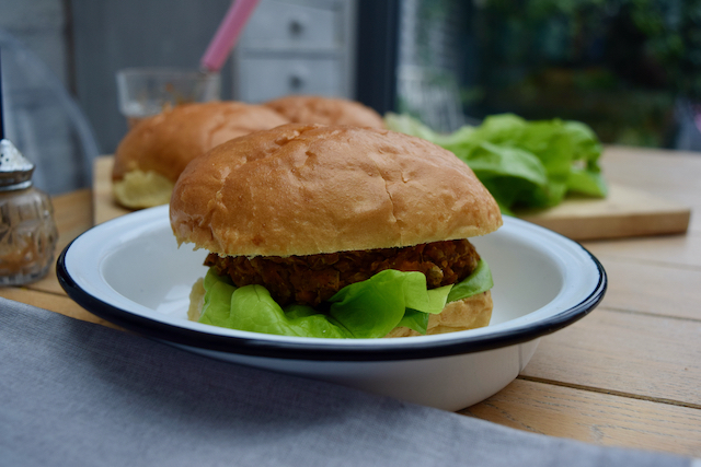 Lentil and Sweet Potato Burgers recipe from Lucy Loves Food Blog