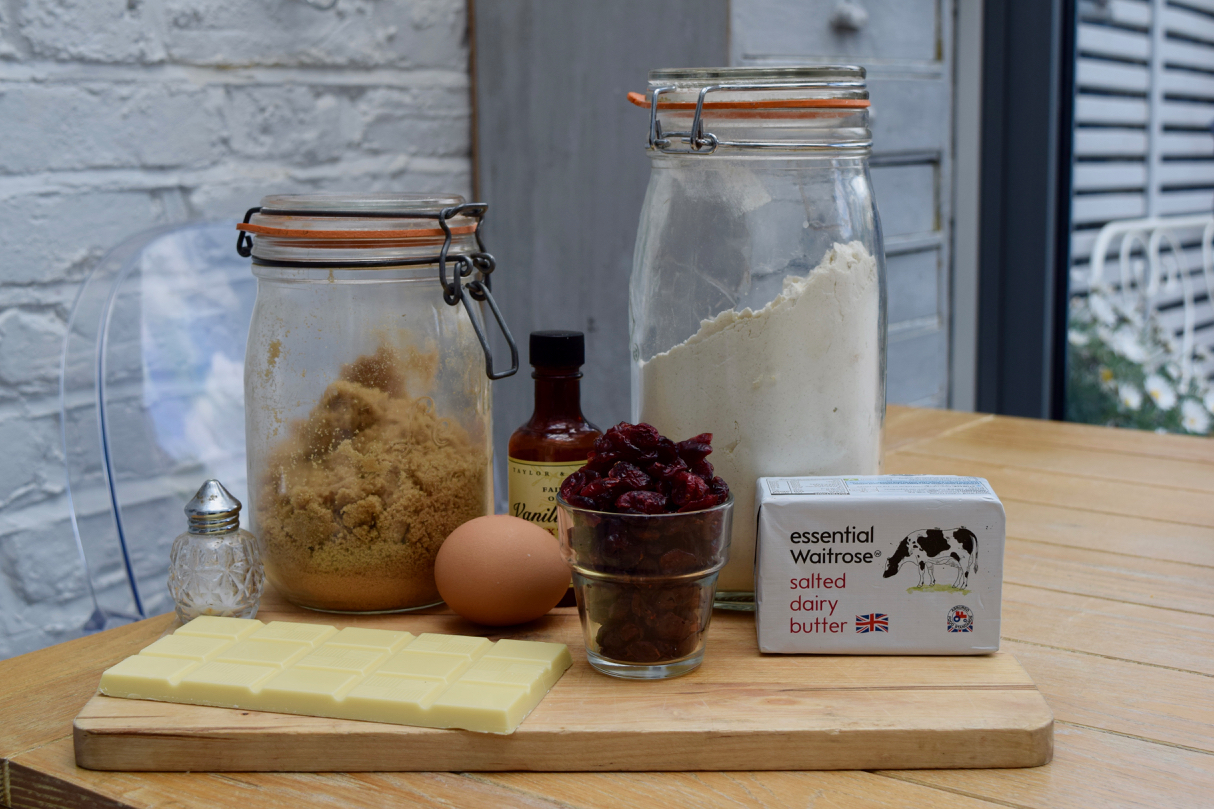 Cranberry and White Chocolate Blondies recipe from Lucy Loves Food Blog