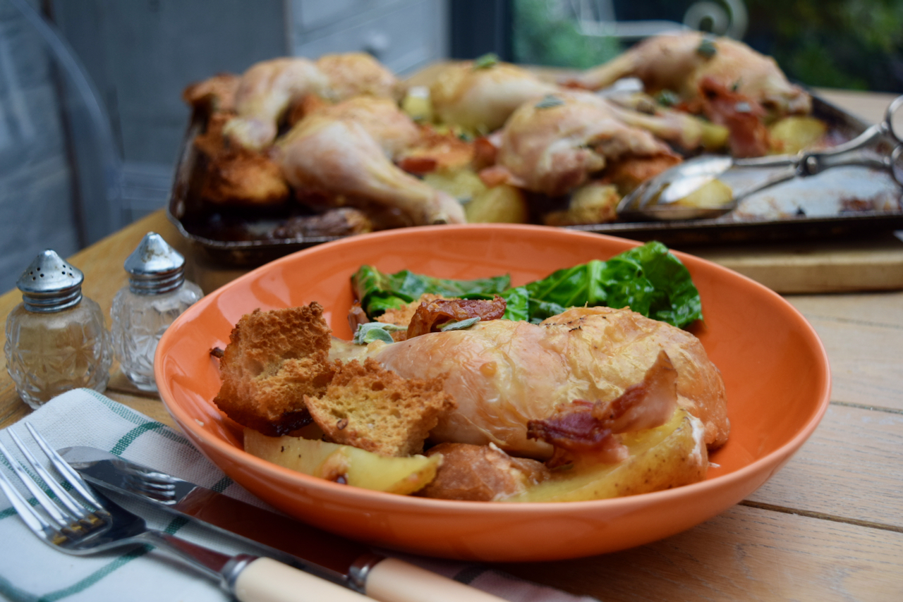 Roast Chicken with Bacon and Sourdough recipe from Lucy Loves Food Blog