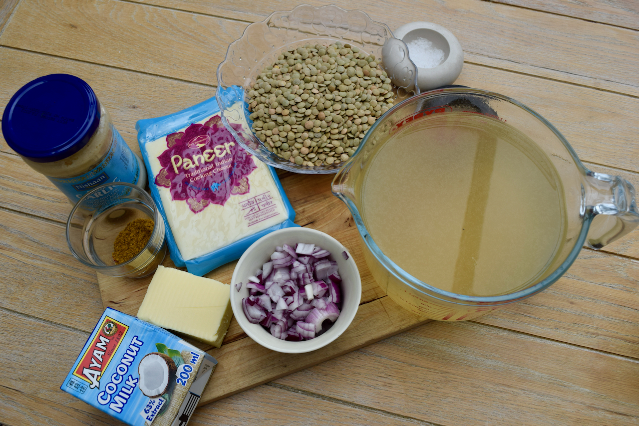 Curried Green Lentil Soup with Crispy Paneer recipe from Lucy Loves Food Blog