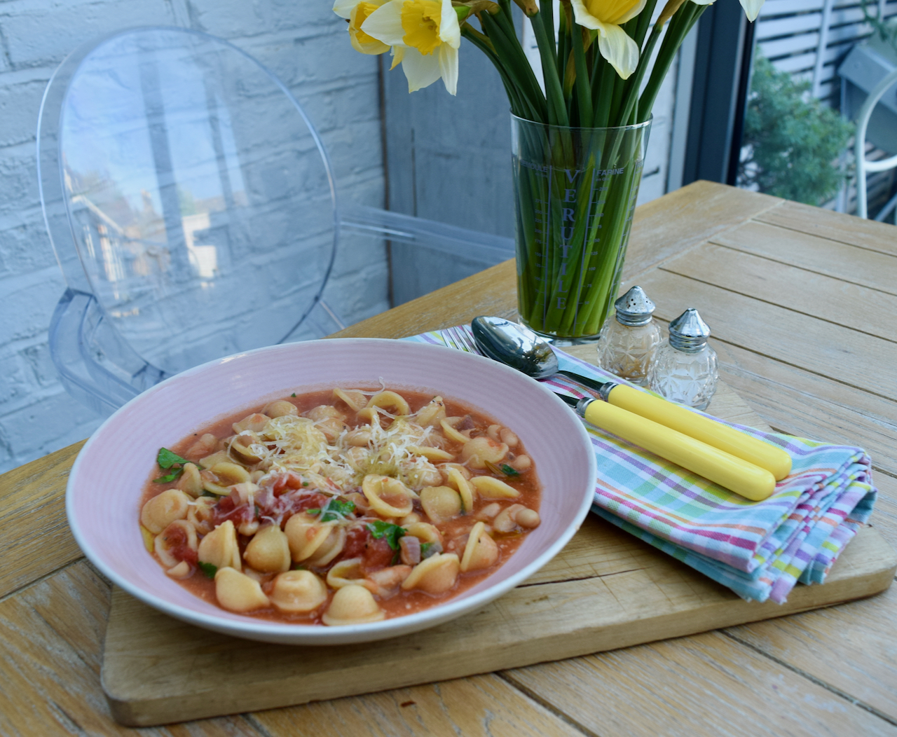 Brothy Tomato Pasta with Beans recipe from Lucy Loves Food Blog