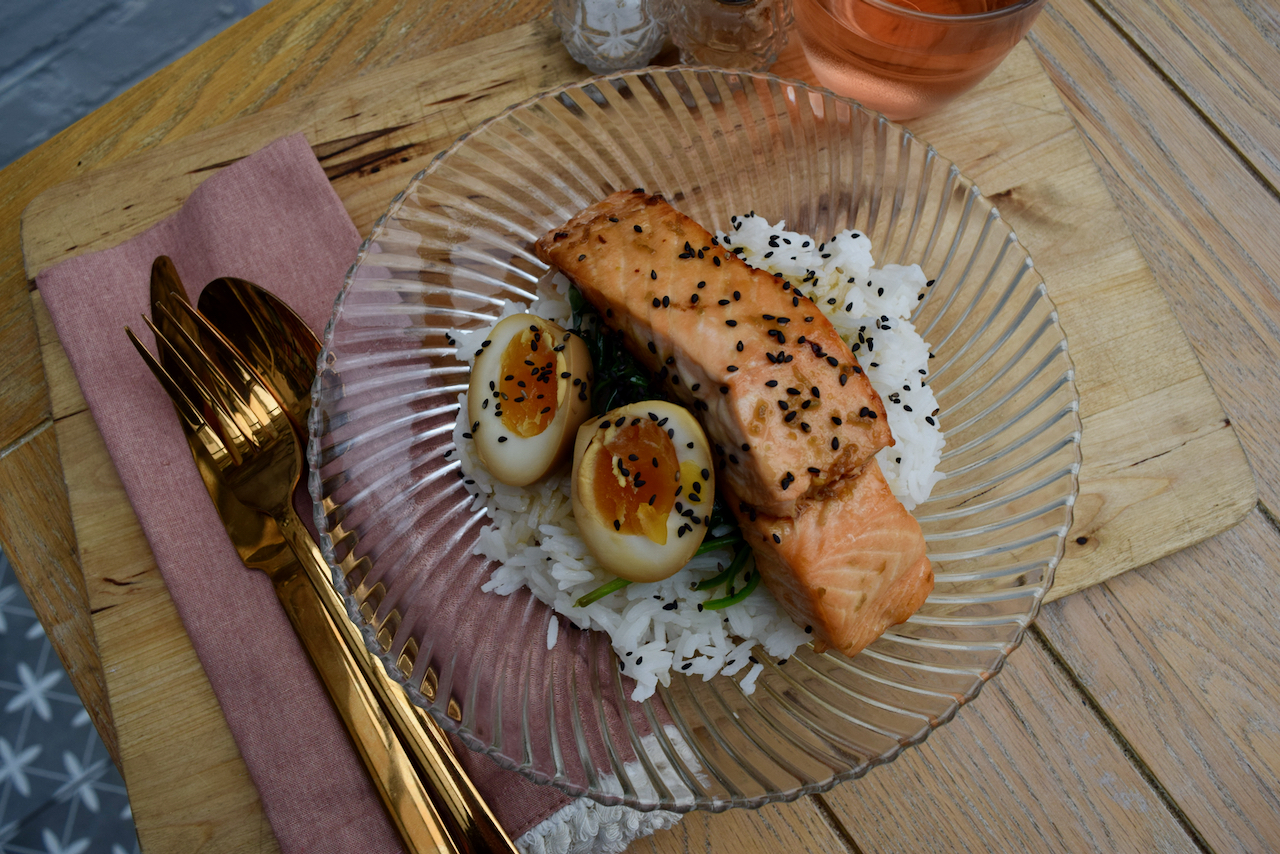 Maple Soy Salmon with Soy Egg recipe from Lucy Loves Food Blog