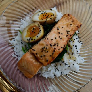 Maple Soy Salmon with Soy Eggs from Lucy Loves Food Blog