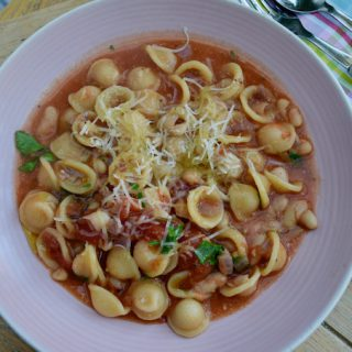 Tomato Brothy Pasta with Beans recipe from Lucy Loves Food Blog