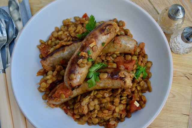 One Pot Sausages with Lentils recipe from Lucy Loves Food Blog