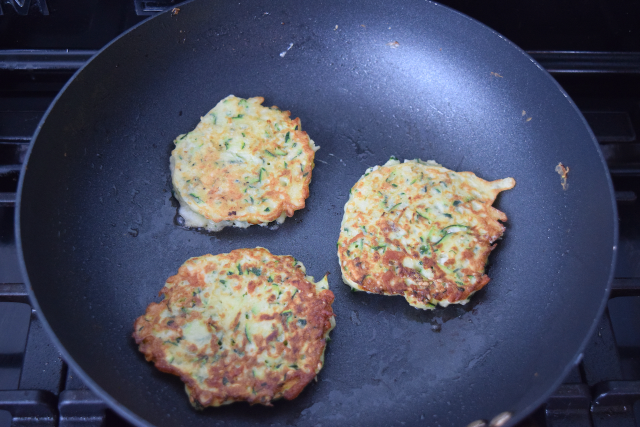 Courgette and Halloumi Pancakes recipe from Lucy Loves Food Blog