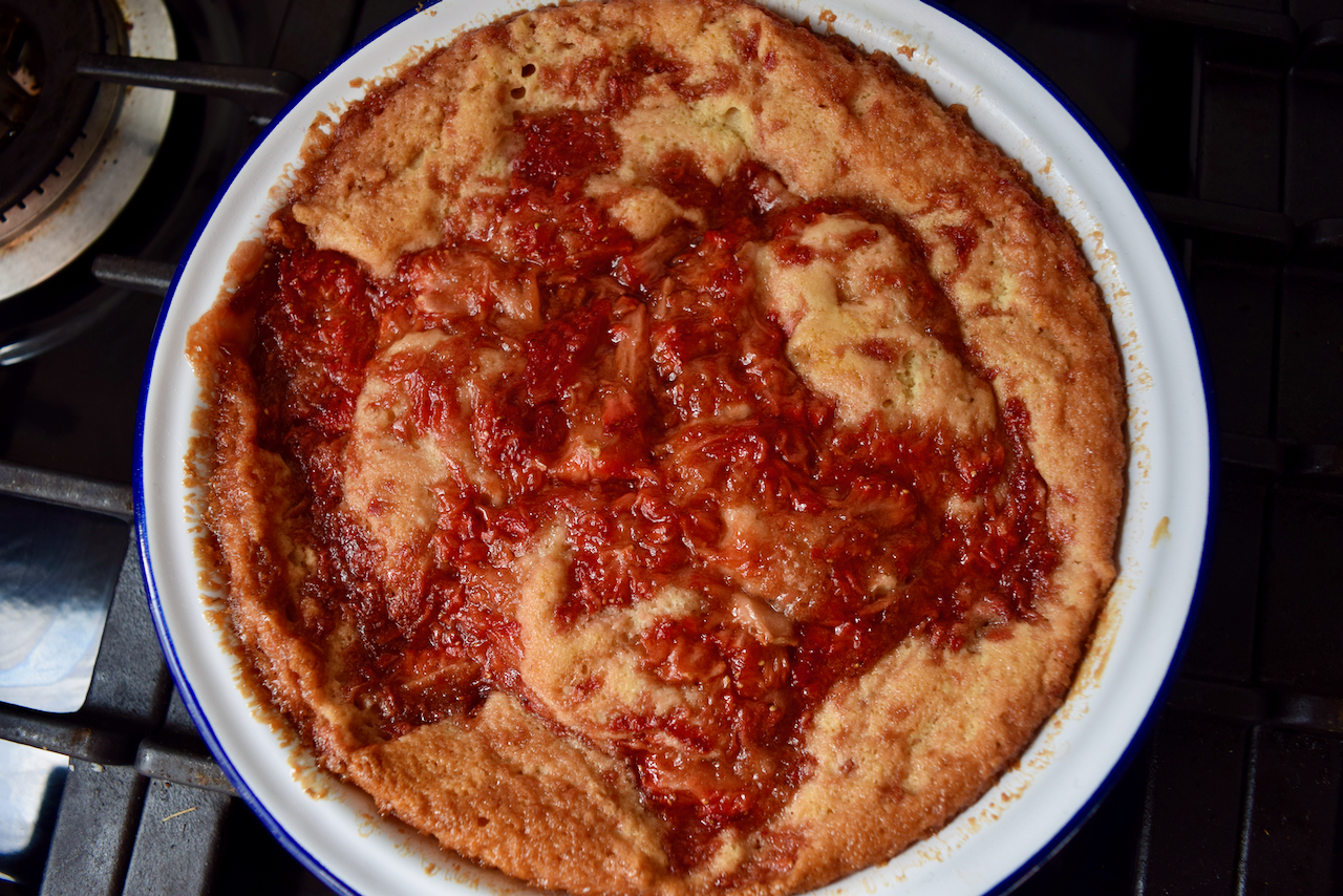 Strawberry Pudding Cake recipe from Lucy Loves Food Blog