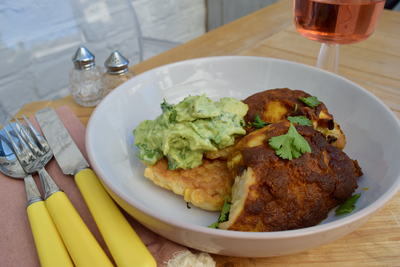 Turmeric Spiced Chicken with Sweetcorn Pancakes and Avocado from Lucy Loves Food Blog