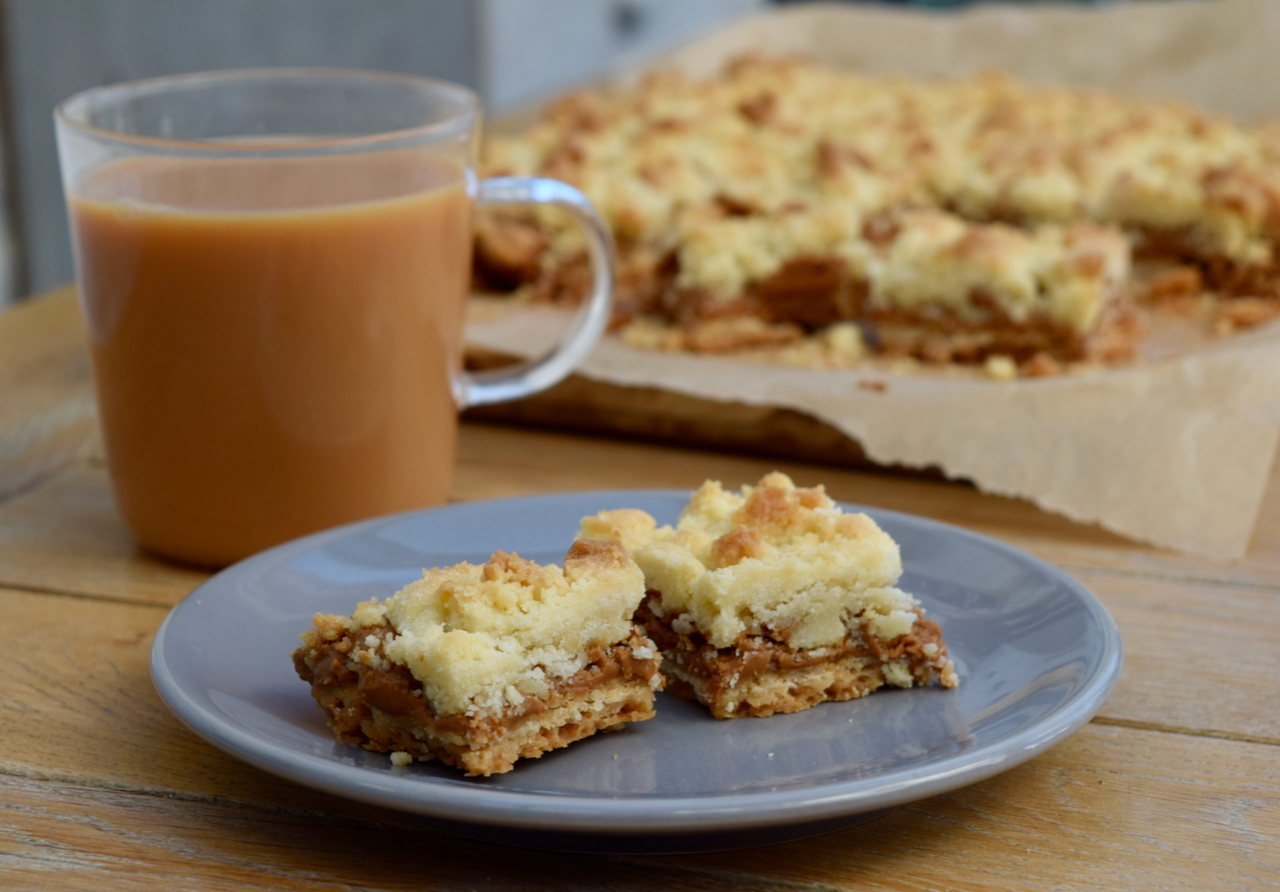 Biscoff Crumble Slice recipe from Lucy Loves Food Blog