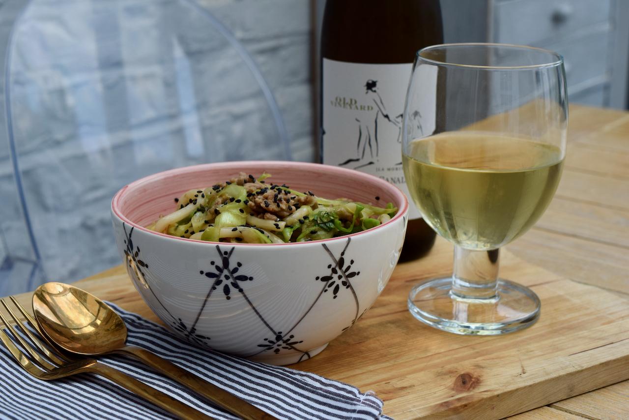 Sesame Pork Udon Noodles recipe from Lucy Loves Food Blog