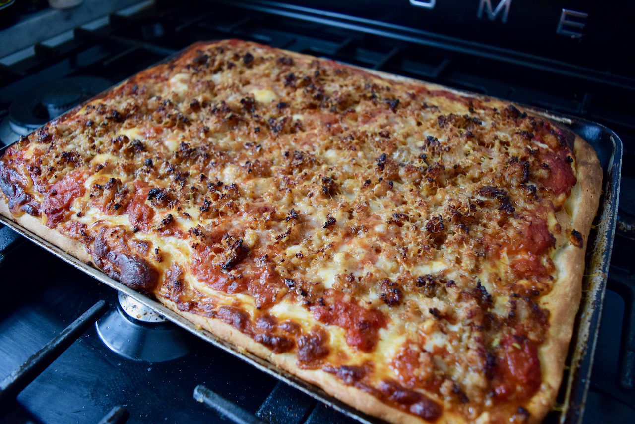 No Knead Sheet Pan Pizza recipe from Lucy Loves Food Blog