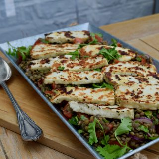 Warm Halloumi and Lentil Salad recipe from Lucy Loves Food Blog