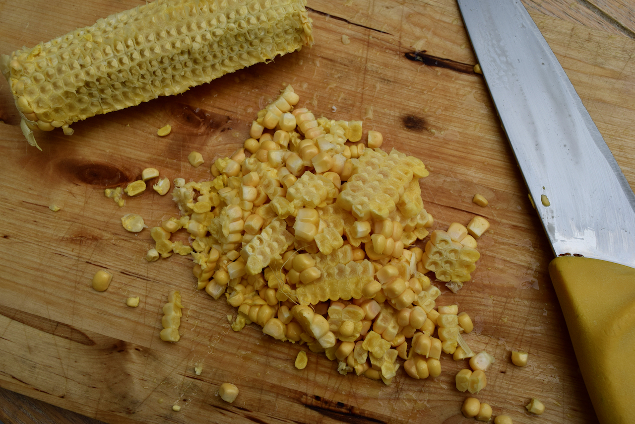 Parmesan, Corn and Bacon Pasta recipe from Lucy Loves Food Blog