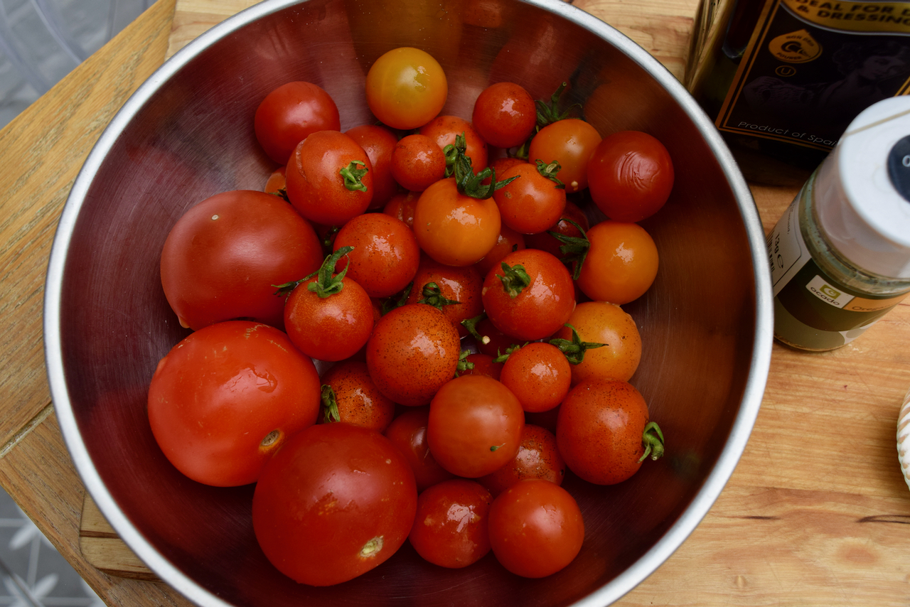 Moonblush Tomato Caprese Salad recipe from Lucy Loves Food Blog