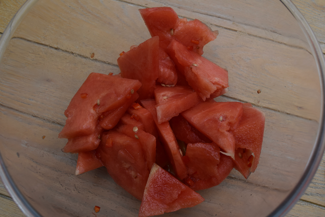 Watermelon, Halloumi and Mint Salad recipe from Lucy Loves Food Blog