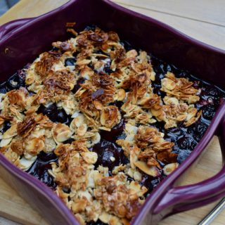 Cherry Almond Crisp recipe from Lucy Loves Food Blog