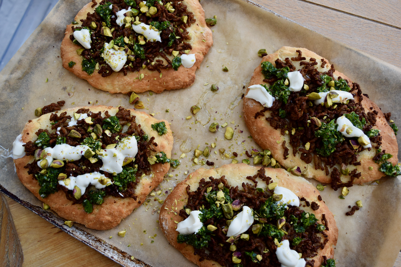 Quick Spiced Lamb Flatbreads recipe from Lucy Loves Food Blog