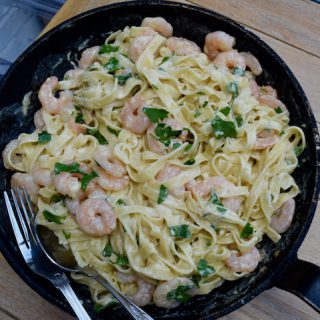 Tagliatelle with Prawns, Garlic and Parmesan recipe from Lucy Loves