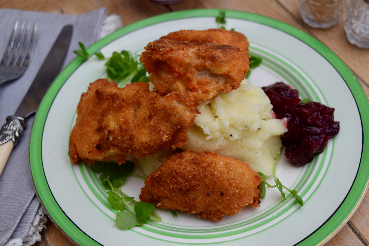 Lentil Coated Turkey Goujons with Quick Cranberry Sauce from Lucy Loves Food Blog