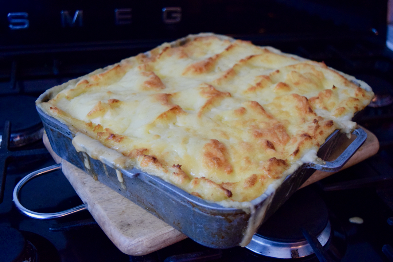 Cheesy Sausage and Mash Pie recipe from Lucy Loves Food Blog