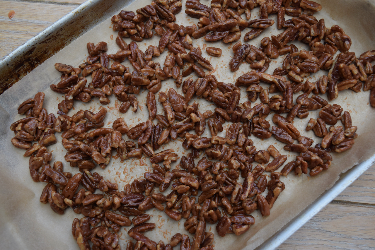 Baked Brie with Sweet and Salty Pecans recipe from Lucy Loves Food Blog