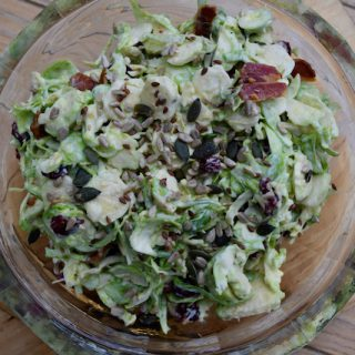 Sprout Slaw with Cranberries recipe from Lucy Loves Food Blog