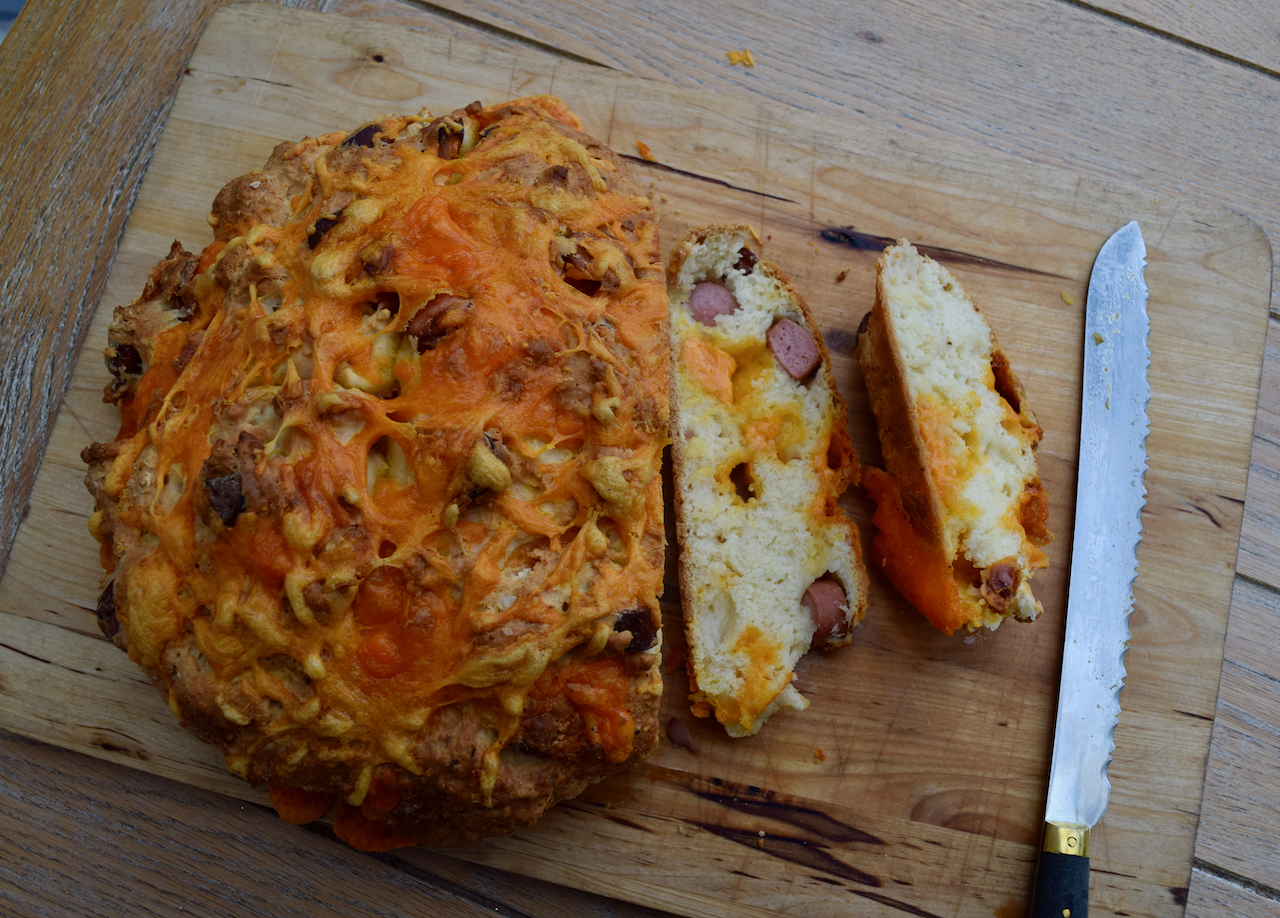 Hot Dog Soda Bread recipe from Lucy Loves Food Blog
