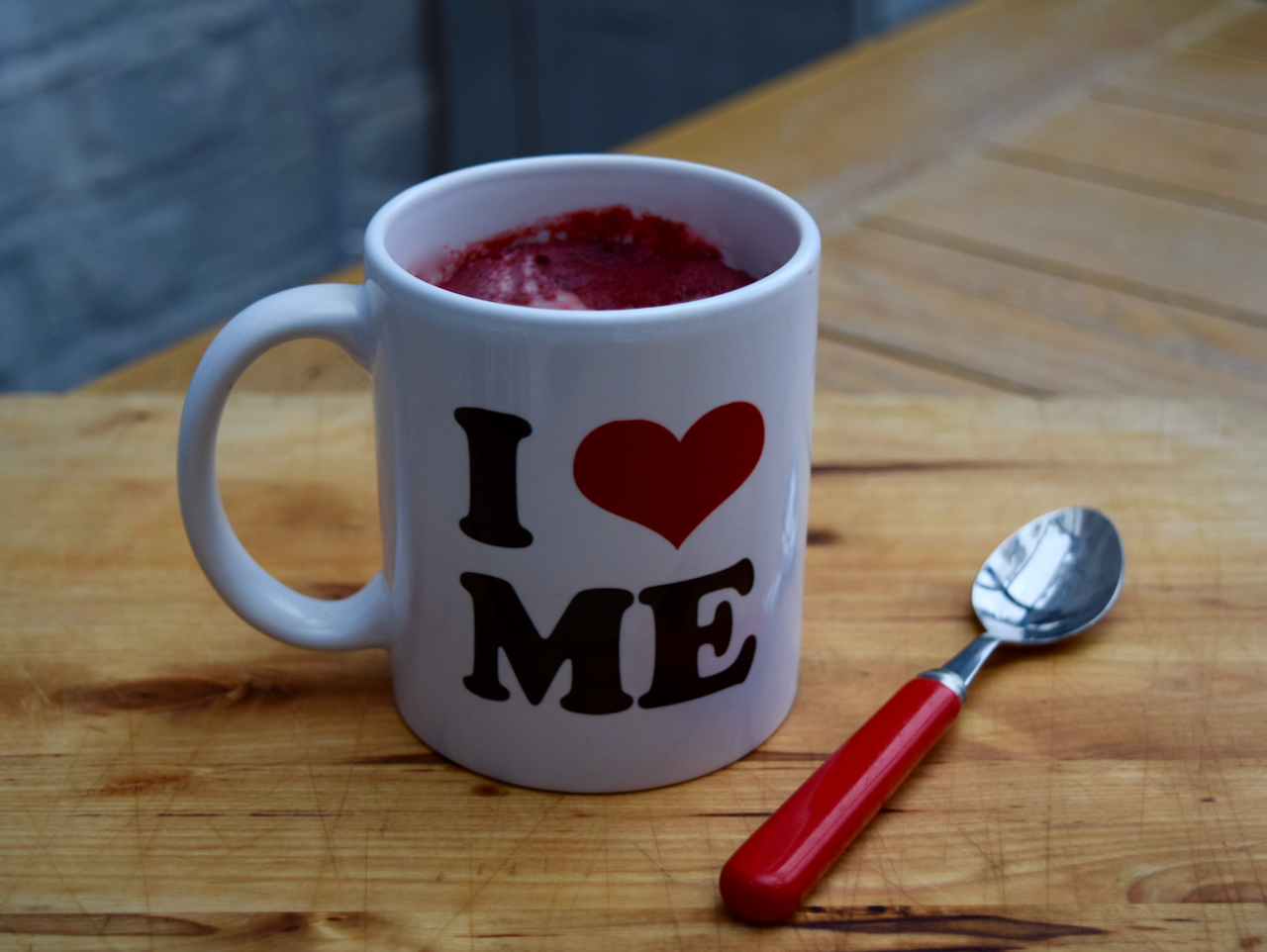 Red Velvet Mug Cake recipe from Lucy Loves Food Blog