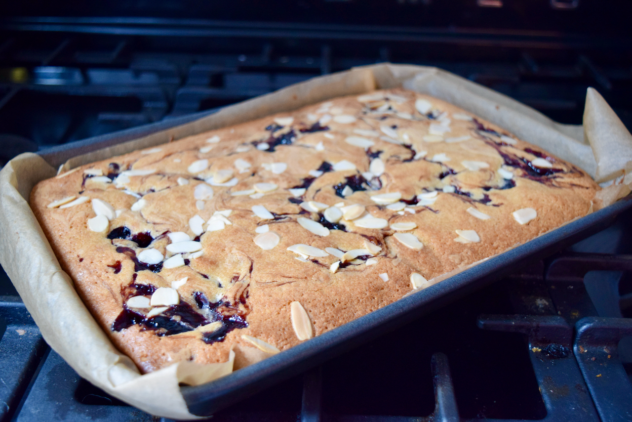 Cherry Bakewell Blondies recipe from Lucy Loves Food Blog