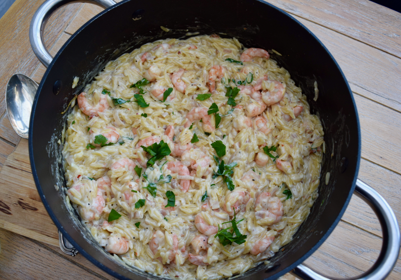 Orzo with Prawns and Lemon recipe from Lucy Loves Food Blog