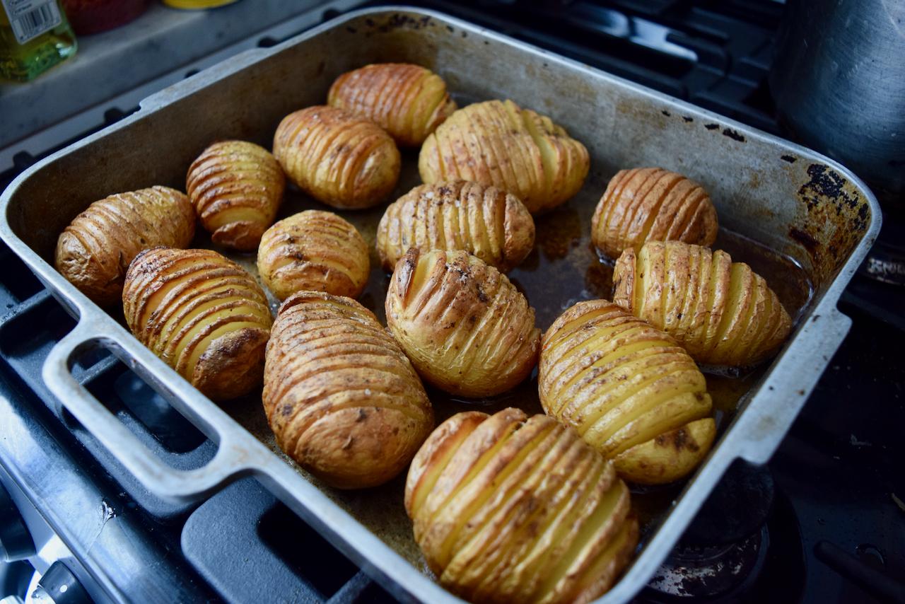 Parmesan Lamb Chops with Hasselback Potatoes