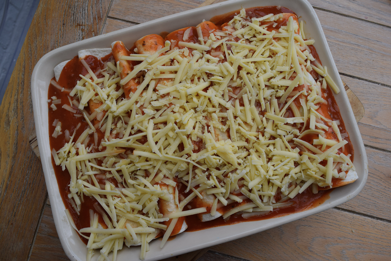 Beef and Bean Enchiladas recipe from Lucy Loves Food Blog