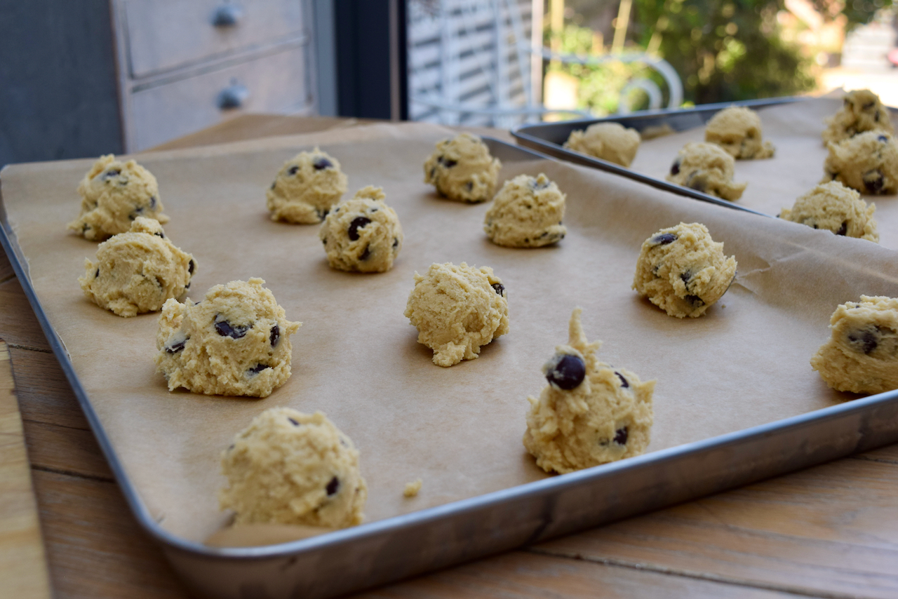 Almond and Chocolate Chip Cookies recipe from Lucy Loves Food Blog
