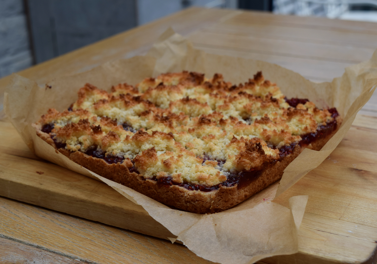 Coconut Jam Slice recipe from Lucy Loves Food Blog