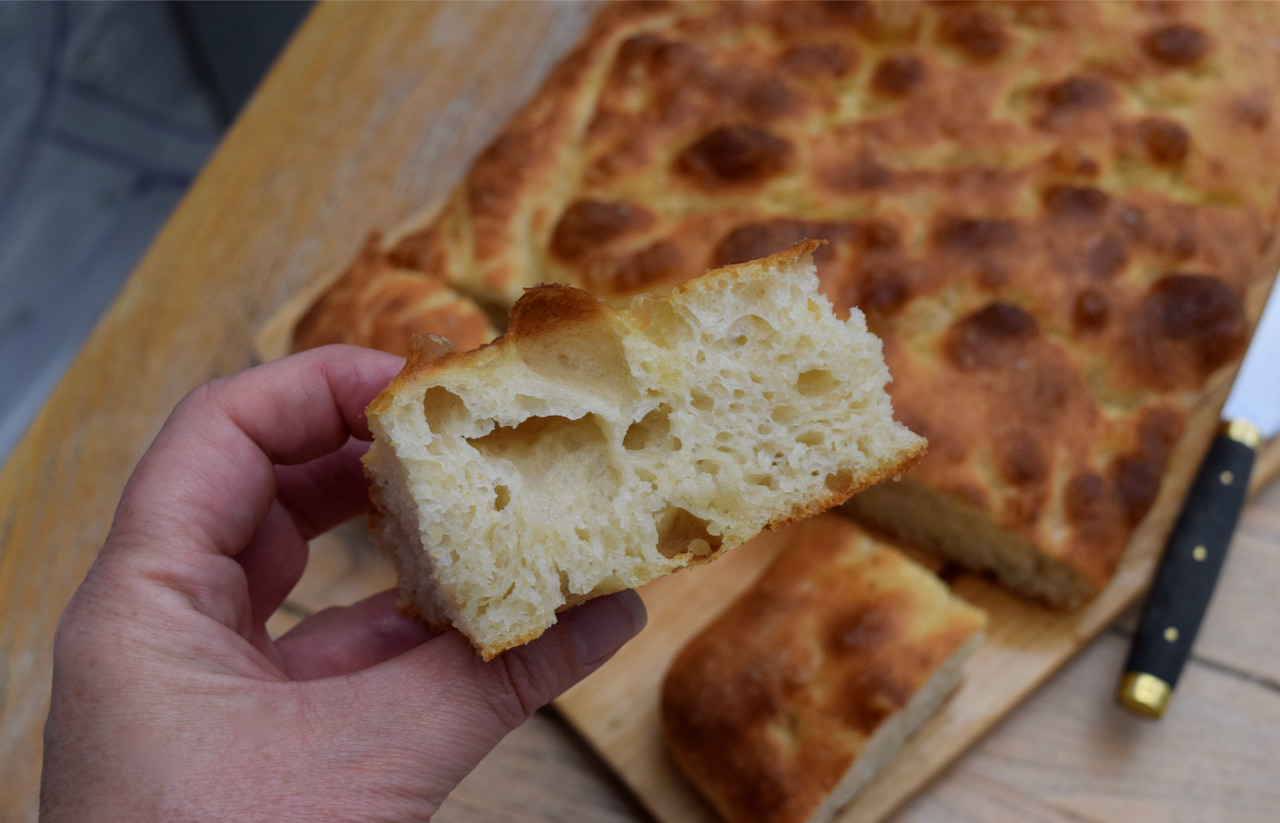 No Knead Focaccia recipe from Lucy Loves Food Blog