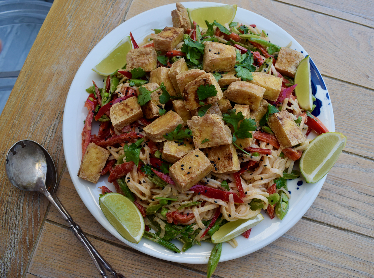 Peanut Sesame Noodle Salad with Crispy Tofu recipe from Lucy Loves
