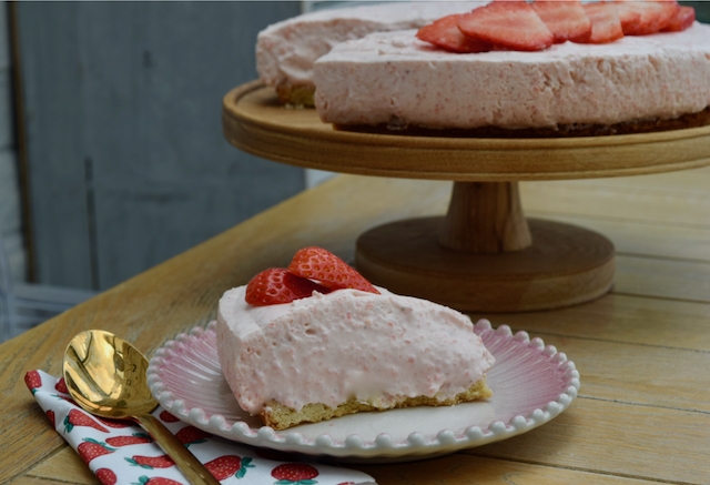 Strawberries and Cream pie recipe from Lucy Loves Food Blog