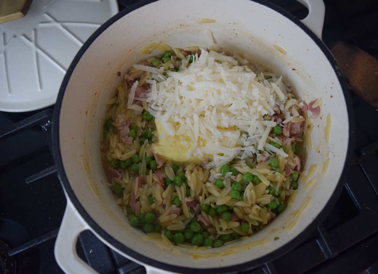 Orzo with Bacon and Peas from Lucy Loves Food Blog
